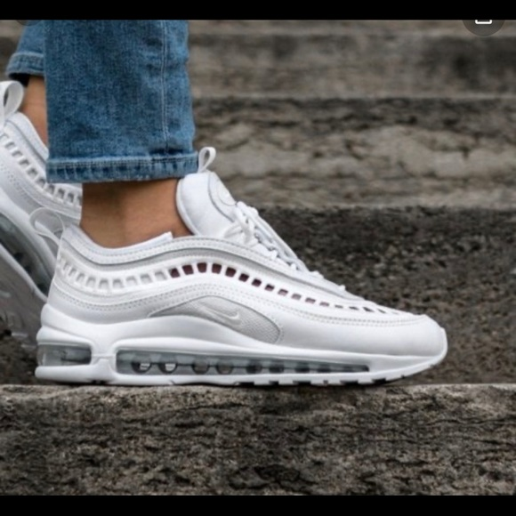 nike white & silver air max 97 ultra 17 trainers youth